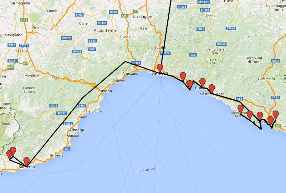 maps liguria tour